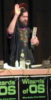 Richard Stallman auf der WOS 1 [Quelle: wizards-of-os.org/archiv/wos_1.html, CC-BYSA]