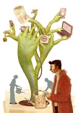 Illustration aus der Oya 8 zu meinem Artikel 'Eine Welt ohne Geld?' (zum Vergrößern klicken)
